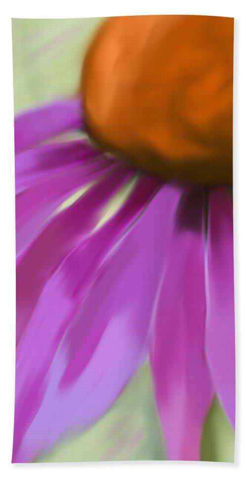 Hand Towel featuring the digital art Purple Cone by Heidi Smith
