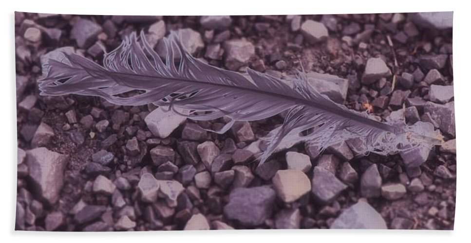 Purple Feather Hand Towel featuring the mixed media Purple Feather by Dan Sproul