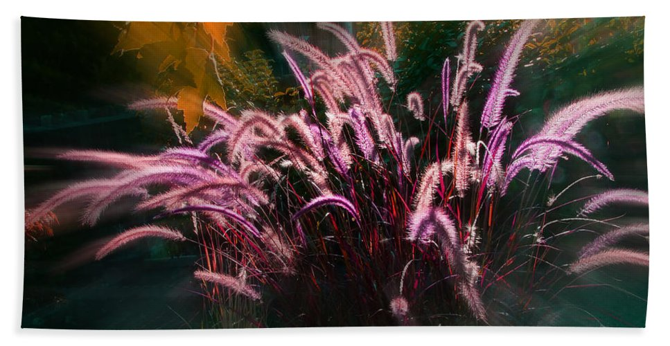 Purple Bath Sheet featuring the photograph Purple Fountain Grass Fantasy by Mick Anderson