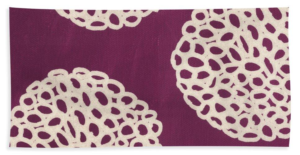 Purple Bath Towel featuring the painting Purple Garden Bloom by Linda Woods