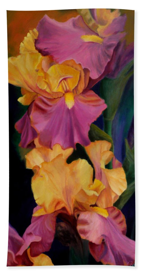 Irises Purple Gold Flowers Flowerpaintings Flowerstill Life Paintings Irises Nature Gardens Oilpaintings Bath Sheet featuring the painting Purple Gold Irises by George Tuffy