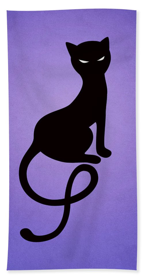 Cats Bath Towel featuring the digital art Purple Gracious Evil Black Cat by Boriana Giormova