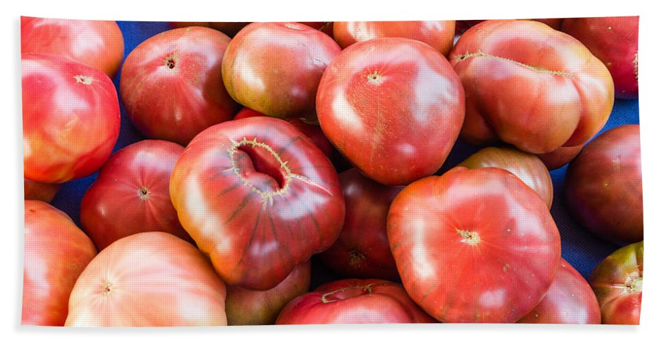 Agriculture Bath Sheet featuring the photograph Purple Heirloom Tomatoes by John Trax