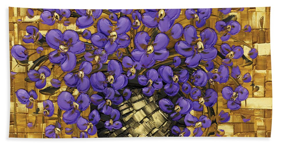 Bath Sheet featuring the painting Purple In The Warm Glow by Susanna Shaposhnikova