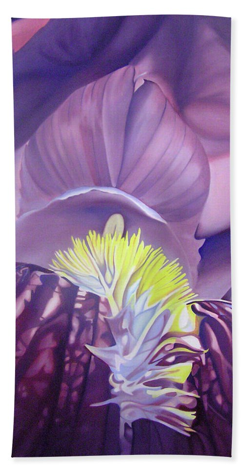 Flower Hand Towel featuring the painting Georgia O'keeffe Style-purple Iris by Joshua Morton