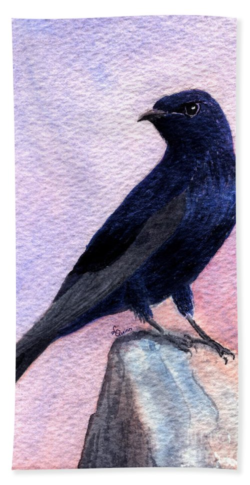 Bird Hand Towel featuring the painting Purple Martin by Lynn Quinn