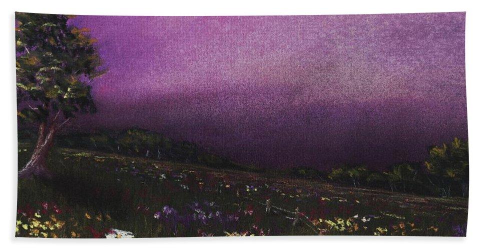 Malakhova Hand Towel featuring the painting Purple Meadow by Anastasiya Malakhova