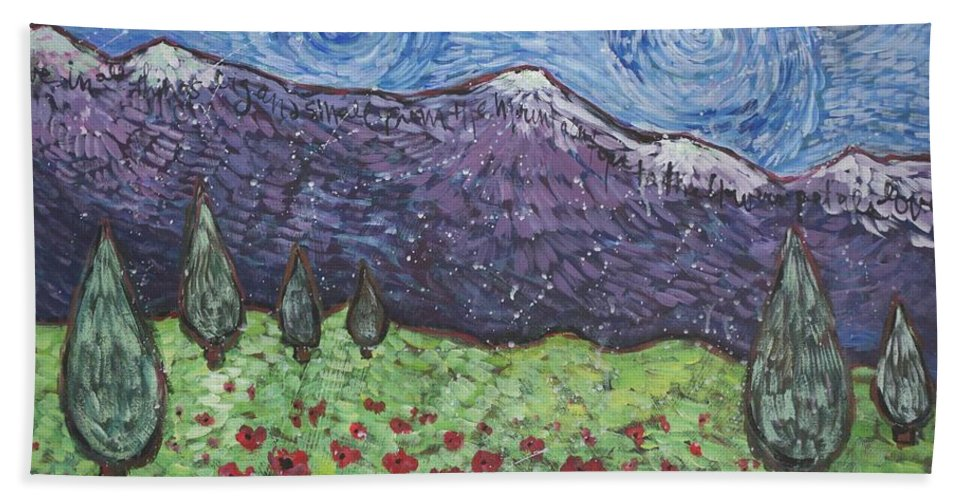 Rocky Mountains Bath Sheet featuring the painting Purple Mountain Majesty by Laurie Maves ART
