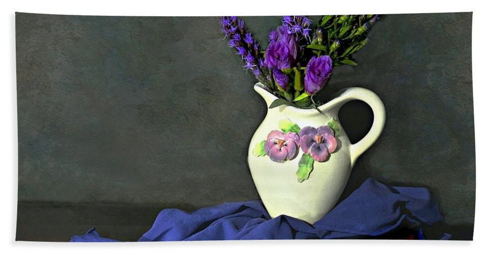 Still Life Hand Towel featuring the photograph Purple Pardon by Diana Angstadt