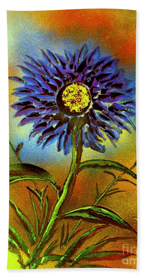 Painting Hand Towel featuring the painting Purple Petals by Greg Moores