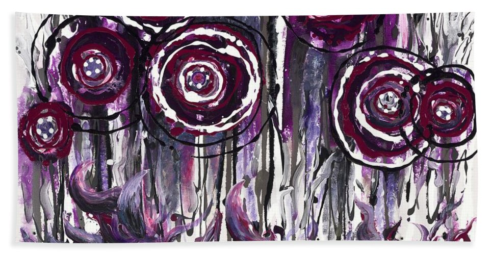 Poppies Hand Towel featuring the painting Purple Poppies by Nadine Rippelmeyer