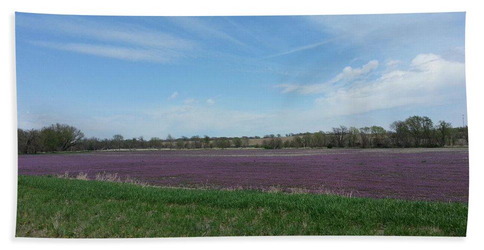 Henbit Bath Sheet featuring the photograph Purple Prairie by Caryl J Bohn