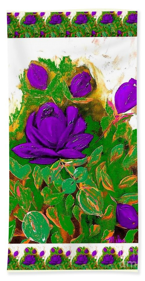 Purple Roses Hand Towel featuring the painting Purple Roses From The Garden 2 by Saundra Myles