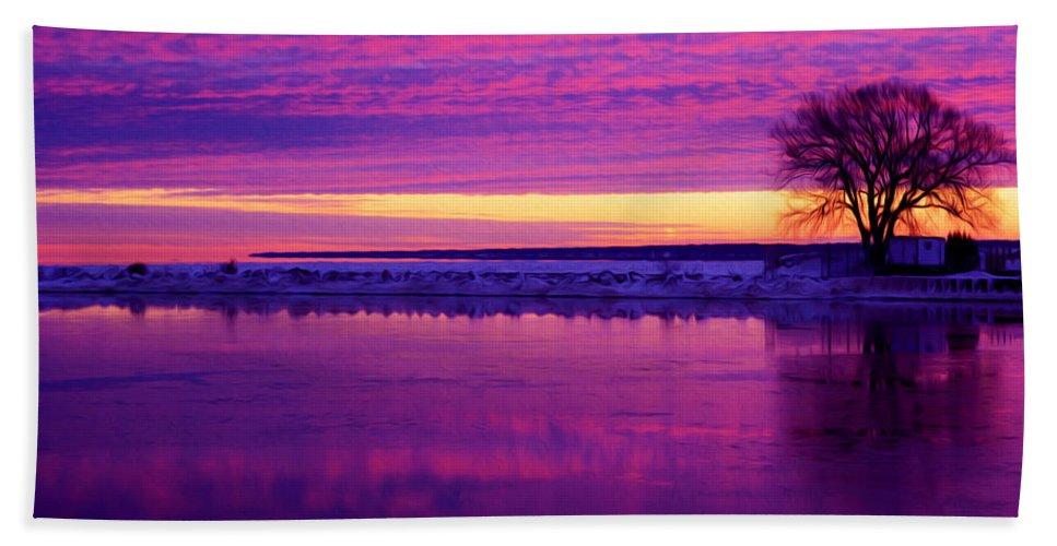 Purple Sky Bath Sheet featuring the photograph Purple Sky by Tracy Winter
