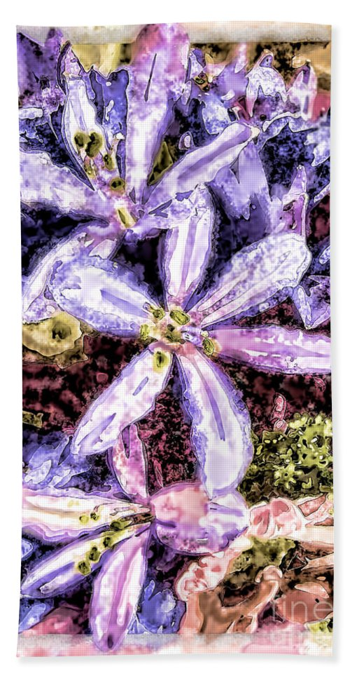 Nature Hand Towel featuring the photograph Purple Stars Photoart by Debbie Portwood