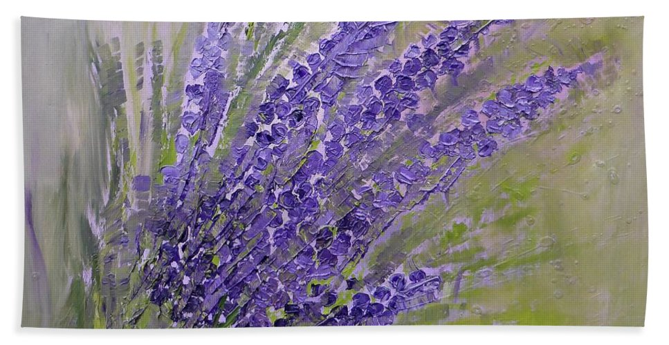 Purple Bath Sheet featuring the painting Purple Lavender Summer by AmaS Art