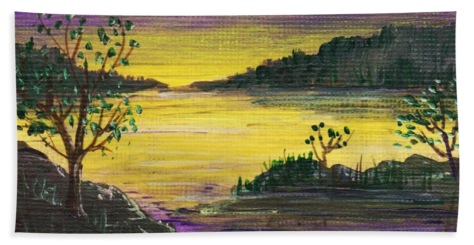 Calm Hand Towel featuring the painting Purple Sunset by Anastasiya Malakhova