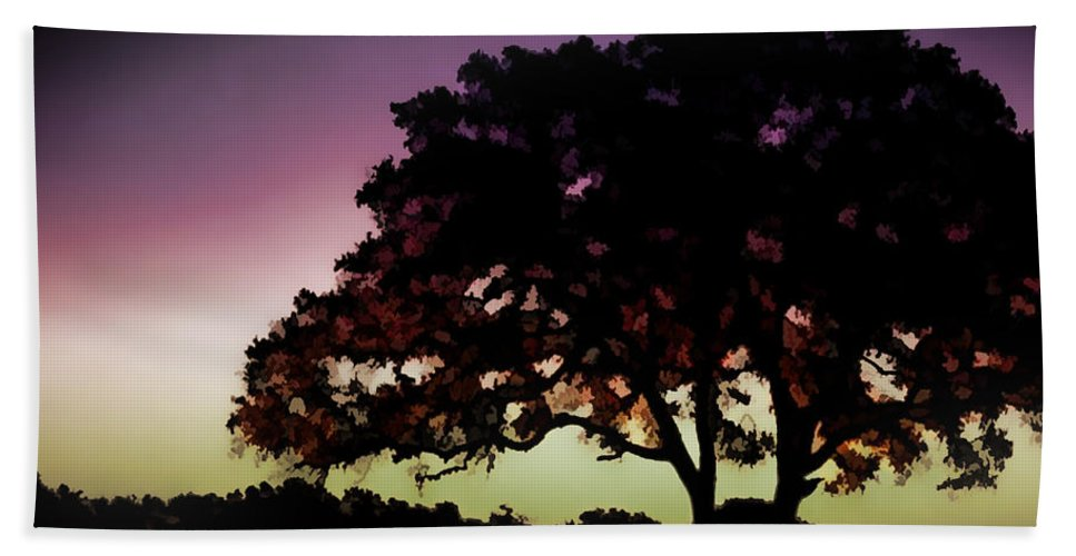 Nature Hand Towel featuring the painting Purple Sunset Green Flash And Oak Tree Silhouette by Elaine Plesser