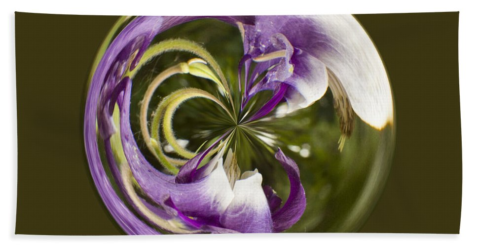 Orb Hand Towel featuring the photograph Purple Swirl Orb by Darleen Stry