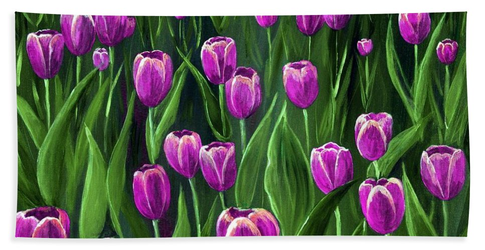 May Hand Towel featuring the painting Purple Tulip Field by Anastasiya Malakhova
