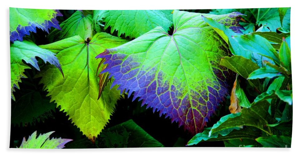 Leaves Bath Sheet featuring the photograph Purple Veins by Tap On Photo
