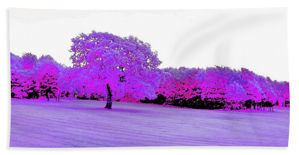 Abstract Hand Towel featuring the photograph Purple World by Katie Beougher