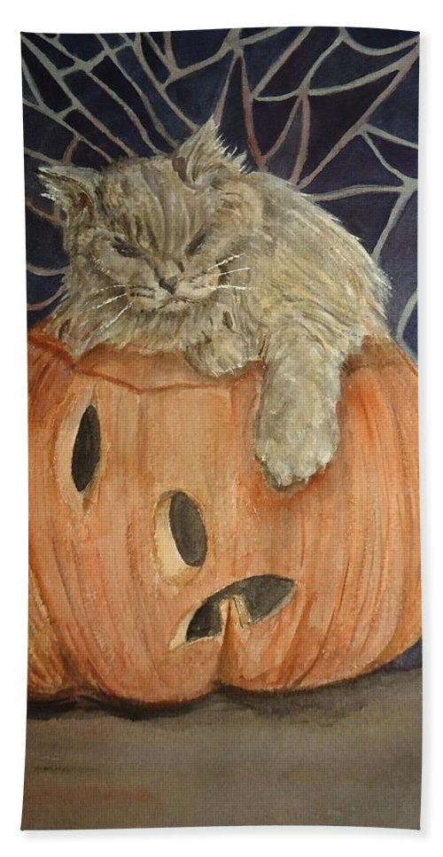 Cat Bath Sheet featuring the painting Purrfect Halloween by Charme Curtin