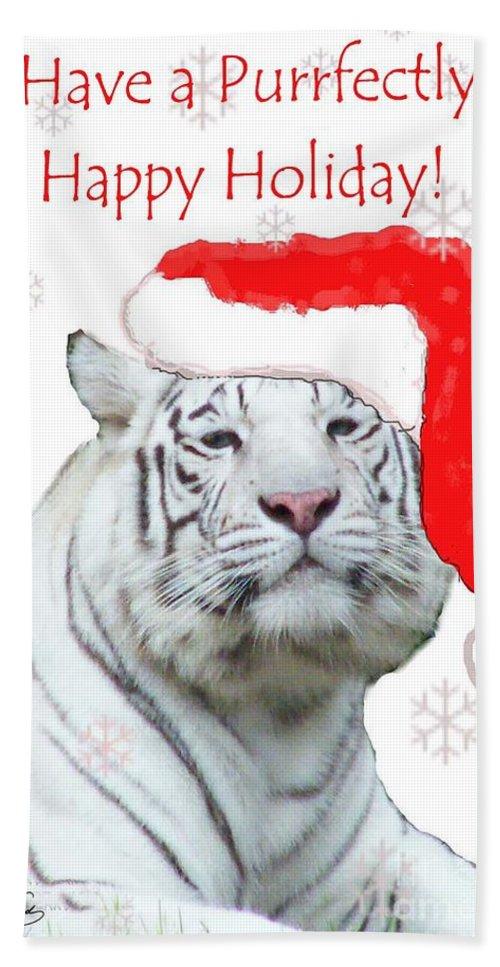 Tiger Bath Sheet featuring the mixed media Purrfect Holiday by Lizi Beard-Ward