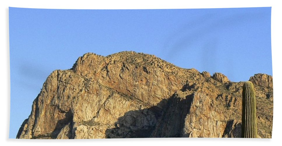 Push Ridge Hand Towel featuring the photograph Pusch Ridge With Saguaro by Rincon Road Photography By Ben Petersen
