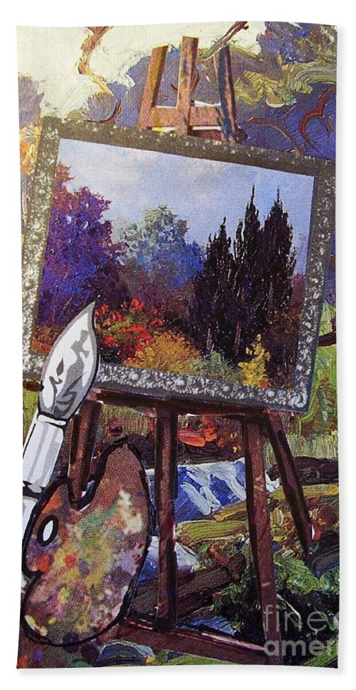 Easel Hand Towel featuring the painting Put Color In Your Life by Eloise Schneider Mote