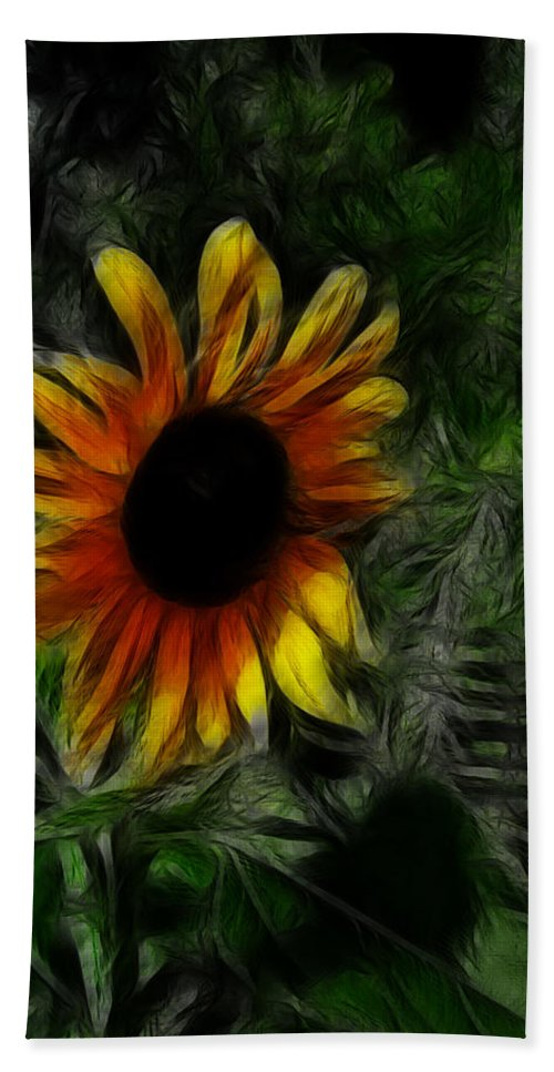 Sunflower Hand Towel featuring the digital art Put On A Happy Face by Bobbie Barth
