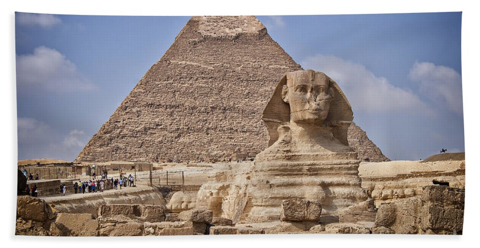Egypt Bath Sheet featuring the photograph Pyramids And Sphinx In Egypt by Sophie McAulay