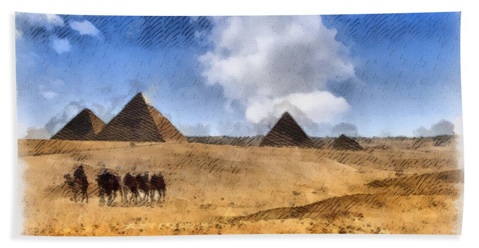Pyramids Hand Towel featuring the photograph Pyramids Of Giza In Egypt by Sophie McAulay