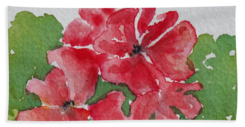 Floral Hand Towel featuring the painting Pzzzazz by Mary Ellen Mueller Legault