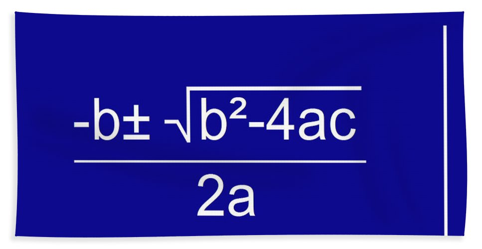 Featured Hand Towel featuring the digital art Quadratic Equation Blue-white by Paulette B Wright