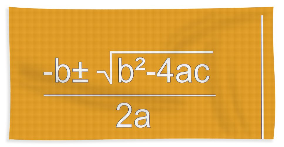 Featured Hand Towel featuring the digital art Quadratic Equation Orange-white by Paulette B Wright
