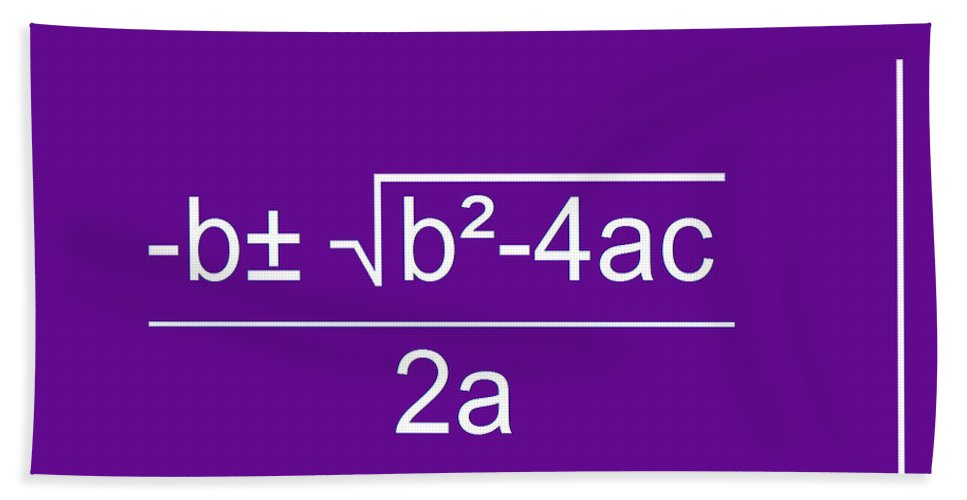 Featured Hand Towel featuring the digital art Quadratic Equation Violet-white by Paulette B Wright