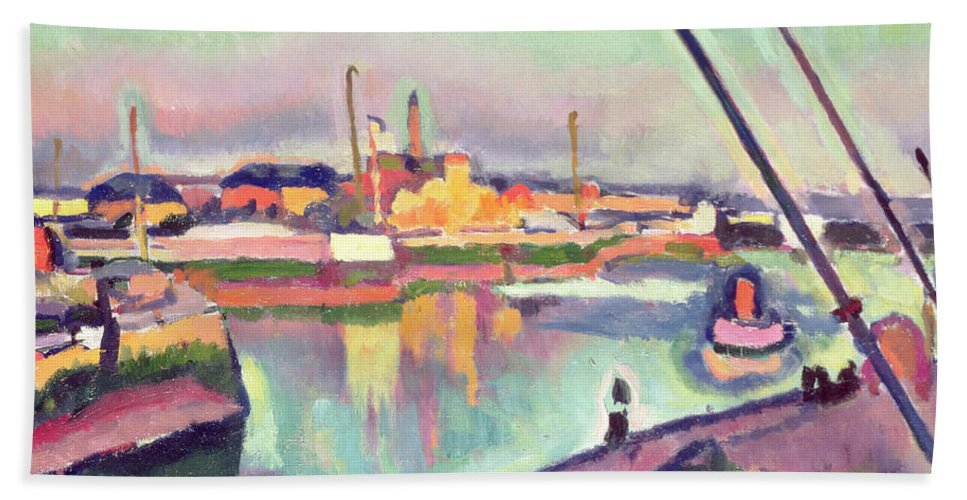 Boat Hand Towel featuring the painting Quai Notre Dame Le Havre by Georges Dupuis