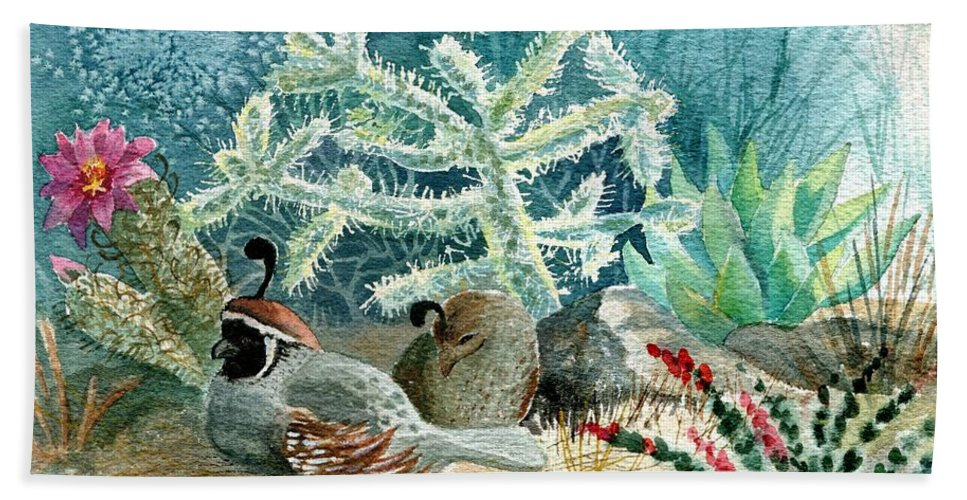 Gambel's Quail Bath Sheet featuring the painting Quail At Rest by Marilyn Smith