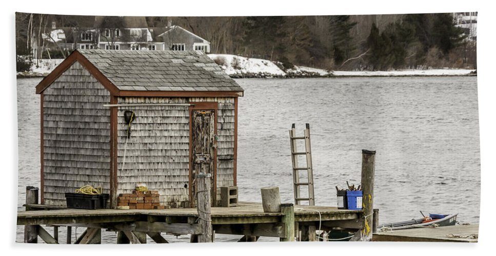 Laura Duhaime Photography Hand Towel featuring the photograph Quaint Fishing Shack New Hampshire by Laura Duhaime