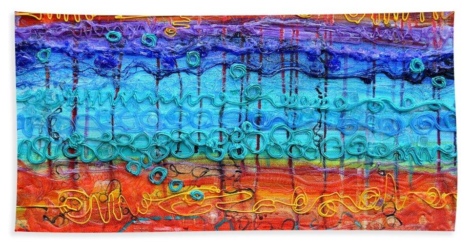 Quantum Hand Towel featuring the painting Quantum Cascade by Regina Valluzzi