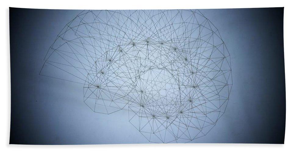 Seashell Bath Sheet featuring the drawing Quantum Nautilus Spotlight by Jason Padgett