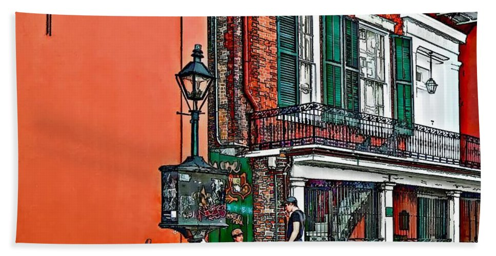 French Quarter Hand Towel featuring the photograph Quarter Time Painted 2 by Steve Harrington