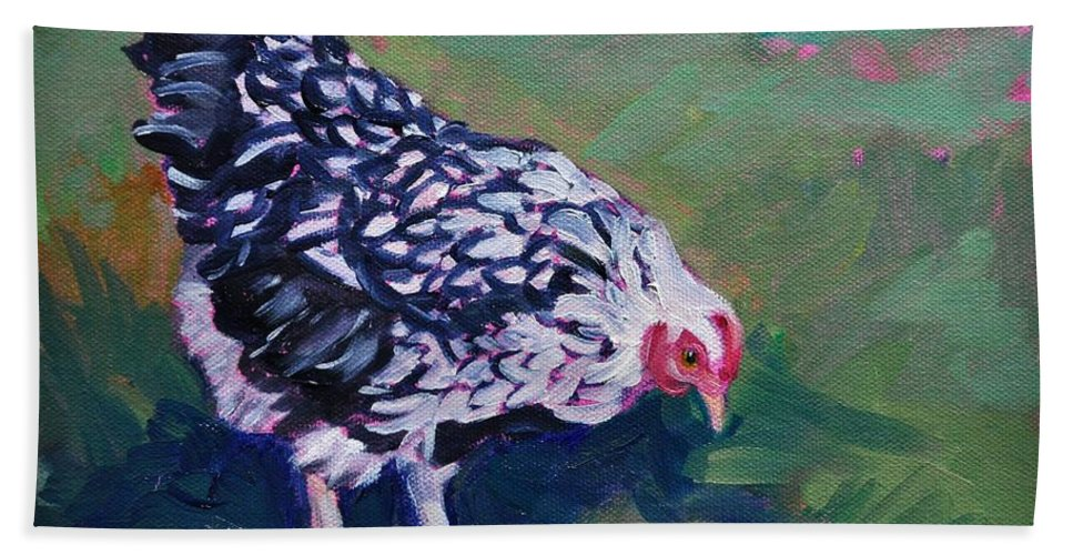 Queen Anne's Lace Bath Sheet featuring the painting Queen Annes Lace    Hen by Sylvina Rollins