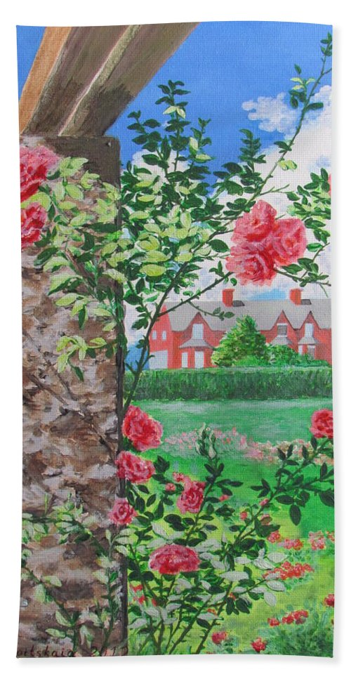 Rose Hand Towel featuring the painting Queen Gardens In Belfast by Svetlana Troitskaia