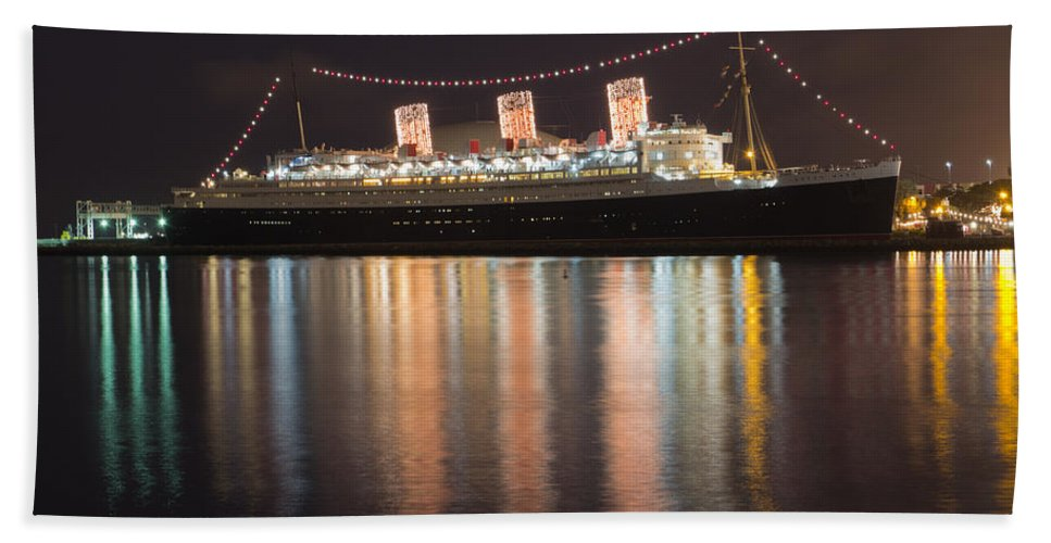 Atmosphere Hand Towel featuring the photograph Queen Mary Decked Out For The Holidays by Heidi Smith