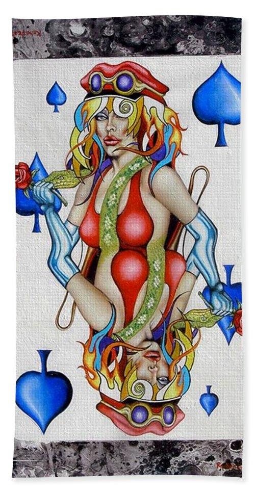 Queen Hand Towel featuring the mixed media Queen Of Spades by John Kuhenbeaker