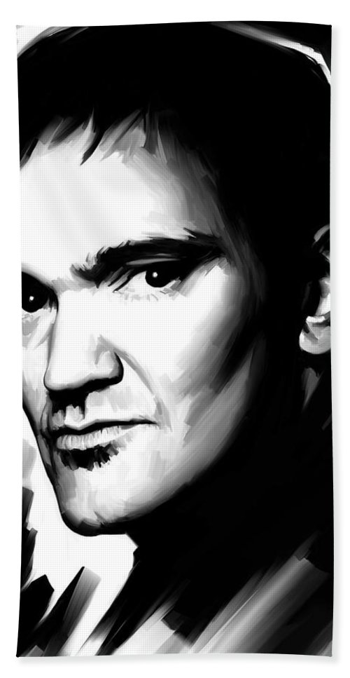 Quentin Tarantino Paintings Hand Towel featuring the painting Quentin Tarantino Artwork 2 by Sheraz A
