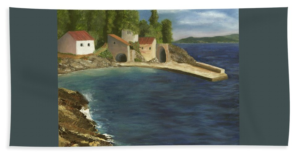Seascapes Hand Towel featuring the painting Quiet Cove by Deborah Butts