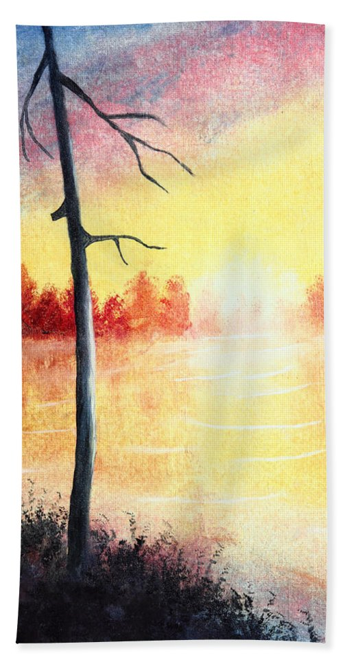 Art Hand Towel featuring the painting Quiet Evening By The River by Nirdesha Munasinghe